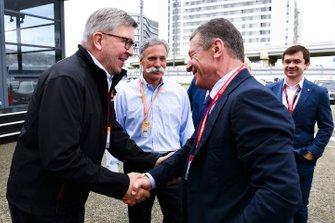 Ross Brawn, directeur de la compétition du Formula One Group et Chase Carey, directeur exécutif du Formula One Group, rencontrent Dmitry Kozak, vice Premier Ministre de la Fédération de Russie