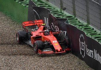Charles Leclerc, Ferrari SF90, crashes out of the race