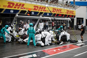 Lewis Hamilton, Mercedes AMG F1 W10, makes a pit stop