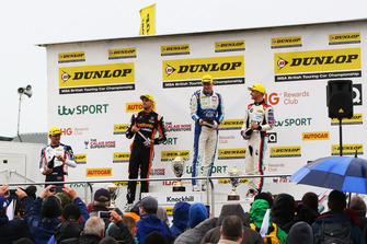 Podium, Tom Ingram, Speedworks Motorsport Toyota Avensis, Dan Cammish, Team Dynamics Honda Civic, Ashley Sutton, Team BMR Subaru Levorg and Colin Turkington, WSR BMW