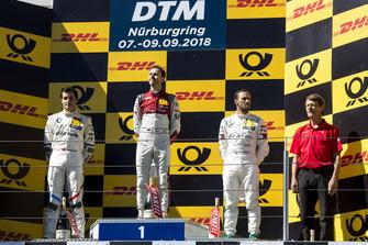 Podium: Winnaar René Rast, Audi Sport Team Rosberg, nummer twee Bruno Spengler, BMW Team RBM en nummer drie Gary Paffett, Mercedes-AMG Team HWA