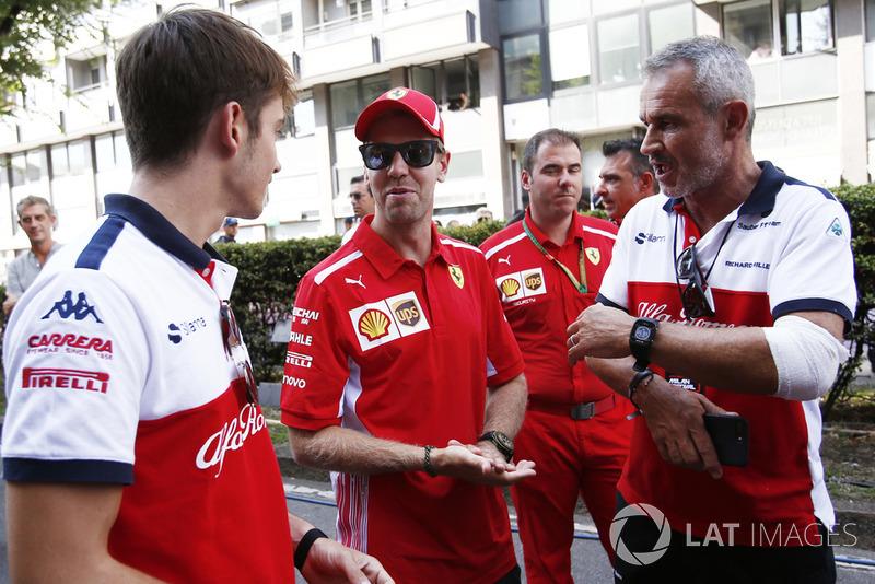 Charles Leclerc, Alfa Romeo Sauber F1 Team, Sebastian Vettel, Ferrari and Beat Zehnder, Alfa Romeo Sauber F1 Team Manager