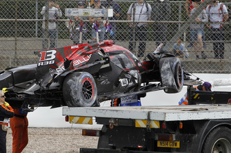 The car of #1 Rebellion Racing Rebellion R-13: Andre Lotterer, Neel Jani, Bruno Senna after the crash