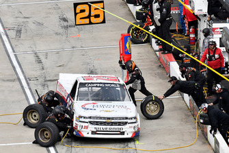 Tyler Dippel, GMS Racing, Chevrolet Silverado Kingman Chevrolet America First/Turning Point USA, makes a pit stop