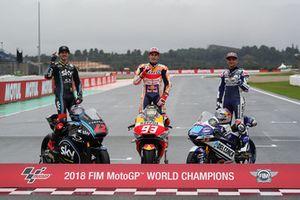Wereldkampioenen 2018: Francesco Bagnaia, Sky Racing Team VR46, Marc Marquez, Repsol Honda Team, Jorge Martin, Del Conca Gresini Racing