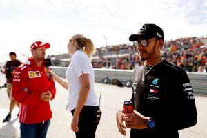 Lewis Hamilton, Mercedes AMG F1, and Sebastian Vettel, Ferrari,