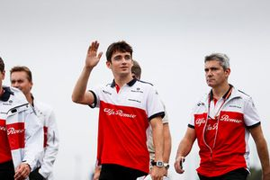 Charles Leclerc, Sauber, waves to the fans