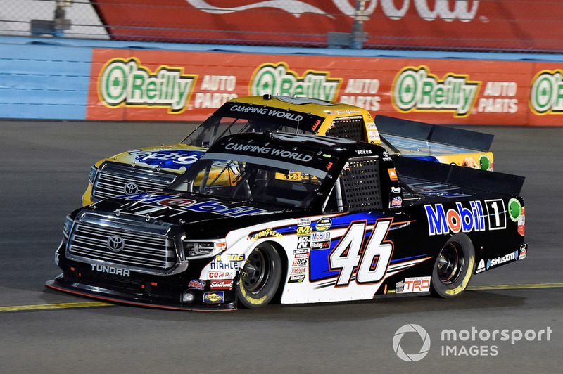 Christian Eckes, Kyle Busch Motorsports, Toyota Tundra Mobil 1 and Todd Gilliland, Kyle Busch Motorsports, Toyota Tundra Pedigree