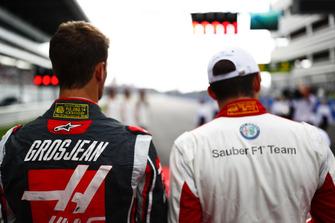 Romain Grosjean, Haas F1 Team ve Charles Leclerc, Sauber
