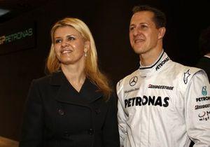 Michael Schumacher, Mercedes GP, con la moglie Corinna Schumacher