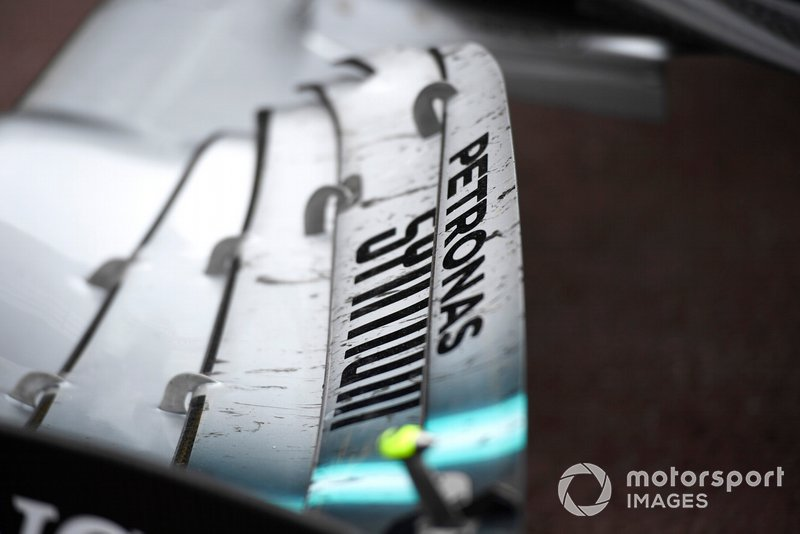 The front wing of Lewis Hamilton, Mercedes AMG F1 W10, after the race