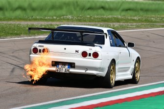 Flames from the exhaust of a Nissan Skyline GT-R