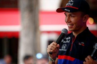 Alexander Albon, Toro Rosso on stage in the fan zone