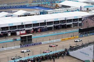 Cars lined up on the grid for the start