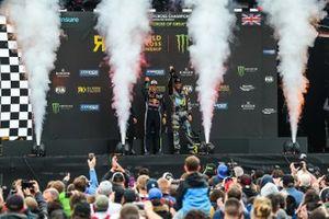 Podium: winner Timmy Hansen, Team Hansen, second place Andreas Bakkerud, RX Cartel, third place Anton Marklund, GC Kompetition