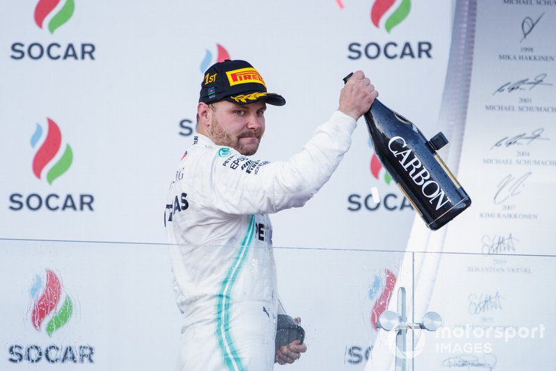 Valtteri Bottas, Mercedes AMG F1, 1st position, leaves the podium