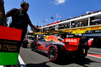 Max Verstappen, Red Bull Racing RB15, leaves the garage