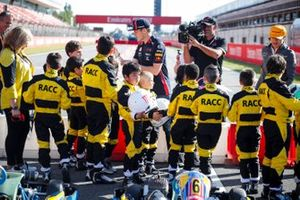 Max Verstappen, Red Bull Racing and Lando Norris, McLaren at the RACC Kids karting event