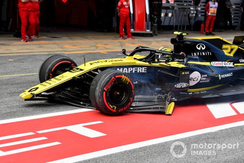 Nico Hulkenberg, Renault R.S. 19, depois de acidente que quebrou sua asa dianteira