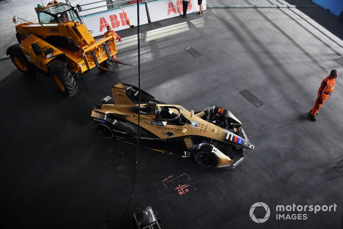 El coche dañado de Antonio Felix Da Costa, DS Techeetah