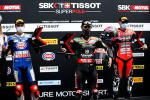 Top 3 après les qualifications, le poleman Jonathan Rea, Kawasaki Racing Team WorldSBK, Toprak Razgatlioglu, PATA Yamaha WorldSBK Team, Scott Redding, ArubaIt Racing - Ducati