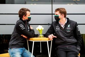 Nyck de Vries, FE Champion and James Vowles, Motorsport Strategy Director at Mercedes-AMG Formula One Team