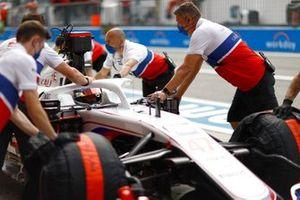 Mick Schumacher, Haas VF-21, in the pit lane