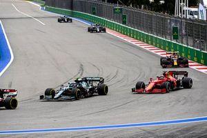 Sebastian Vettel, Aston Martin AMR21, Charles Leclerc, Ferrari SF21, and Max Verstappen, Red Bull Racing RB16B