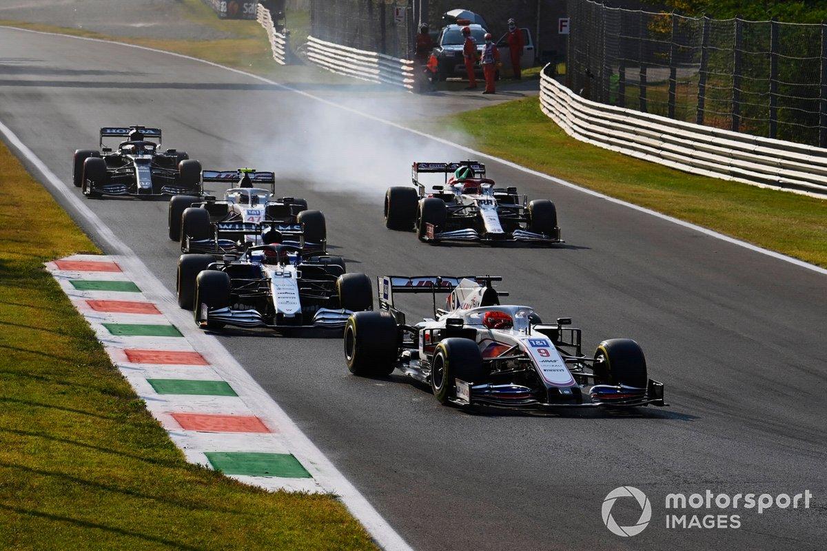 Nikita Mazepin, Haas VF-21, George Russell, Williams FW43B, Mick Schumacher, Haas VF-21, Robert Kubica, Alfa Romeo Racing C41, and Yuki Tsunoda, AlphaTauri AT02