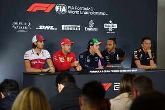 Antonio Giovinazzi, Alfa Romeo Racing, Sebastian Vettel, Ferrari, Sergio Perez, Racing Point, Lewis Hamilton, Mercedes AMG F1 and Alex Albon, Red Bull Racing in the Press Conference