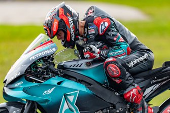 Fabio Quartararo, Petronas Yamaha SRT celebrates his pole position posing for the on-board camera