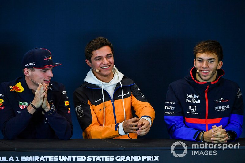 Press conference, Max Verstappen, Red Bull Racing, and Lando Norris, McLaren and Pierre Gasly, Toro Rosso