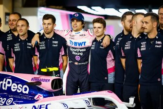 Lance Stroll, Racing Point, with team mates