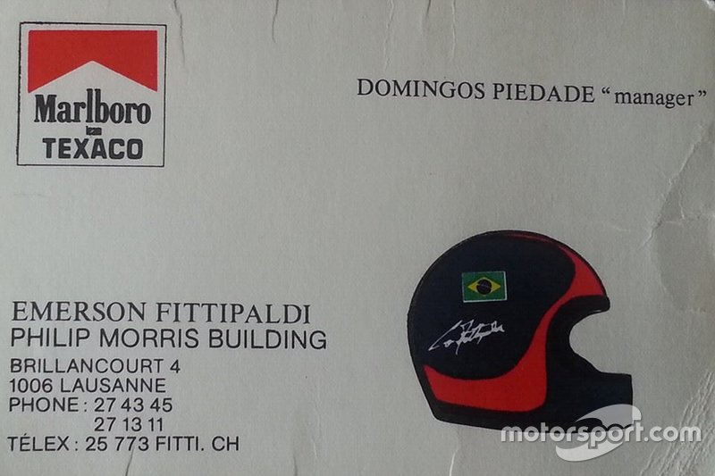 Carta de Domingos Piedade, manager de Emerson Fittipaldi