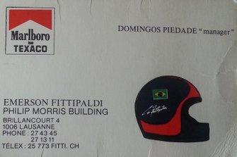 Carnet de Domingos Piedade, manager de Emerson Fittipaldi