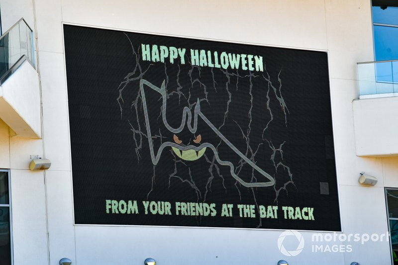Happy Halloween sign on track