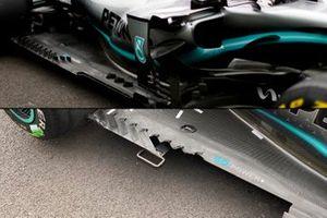 Mercedes AMG F1 W10 floor comparison