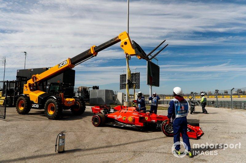Charles Leclerc, Ferrari, stops in FP3