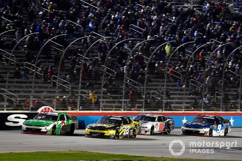 Tyler Reddick, Richard Childress Racing, Chevrolet Camaro Alsco and John Hunter Nemechek, GMS Racing, Chevrolet Camaro Romco Equipment Co.