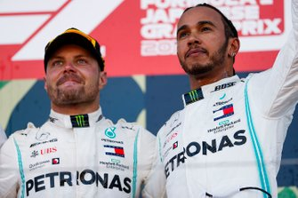 Lewis Hamilton, Mercedes AMG F1 and Race winner Valtteri Bottas, Mercedes AMG F1 celebrate on the podium