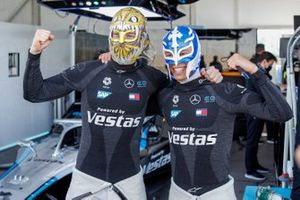Stoffel Vandoorne, Mercedes Benz EQ, Nyck de Vries, Mercedes Benz EQ, wearing traditional Mexican wrestling face masks