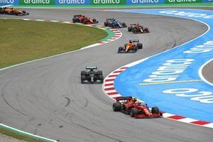 Charles Leclerc, Ferrari SF21, Valtteri Bottas, Mercedes W12, Daniel Ricciardo, McLaren MCL35M, Sergio Perez, Red Bull Racing RB16B, and Esteban Ocon, Alpine A521