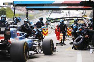 Fernando Alonso, Alpine A521, makes a pit stop