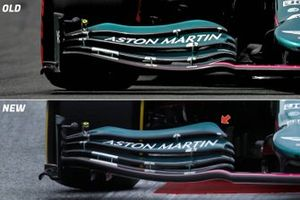 Aston Martin AMR21 front wing comparison