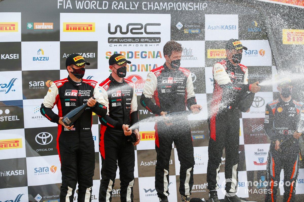 Podio: Sébastien Ogier, Julien Ingrassia, Toyota Gazoo Racing WRT Toyota Yaris WRC, Elfyn Evans, Scott Martin, Toyota Gazoo Racing WRT Toyota Yaris WRC