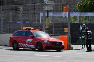 The Medical car collects Lance Stroll, Aston Martin, after his crash in Qualifying