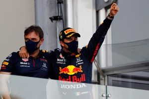 Sergio Perez, Red Bull Racing, 2nd position, arrives on the podium