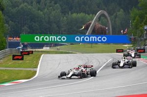 Antonio Giovinazzi, Alfa Romeo Racing C41, Mick Schumacher, Haas VF-21, and Nikita Mazepin, Haas VF-21