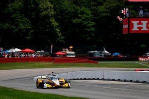 Josef Newgarden, Team Penske Chevrolet takes the checkered flag