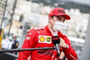 Pole man Charles Leclerc, Ferrari, is interviewed after Qualifying